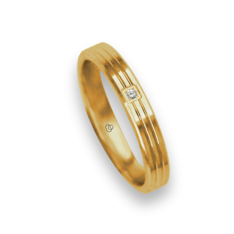 Ring / wedding ring 18 carat yellow gold polished finish two canals one diamond model ag0339dw