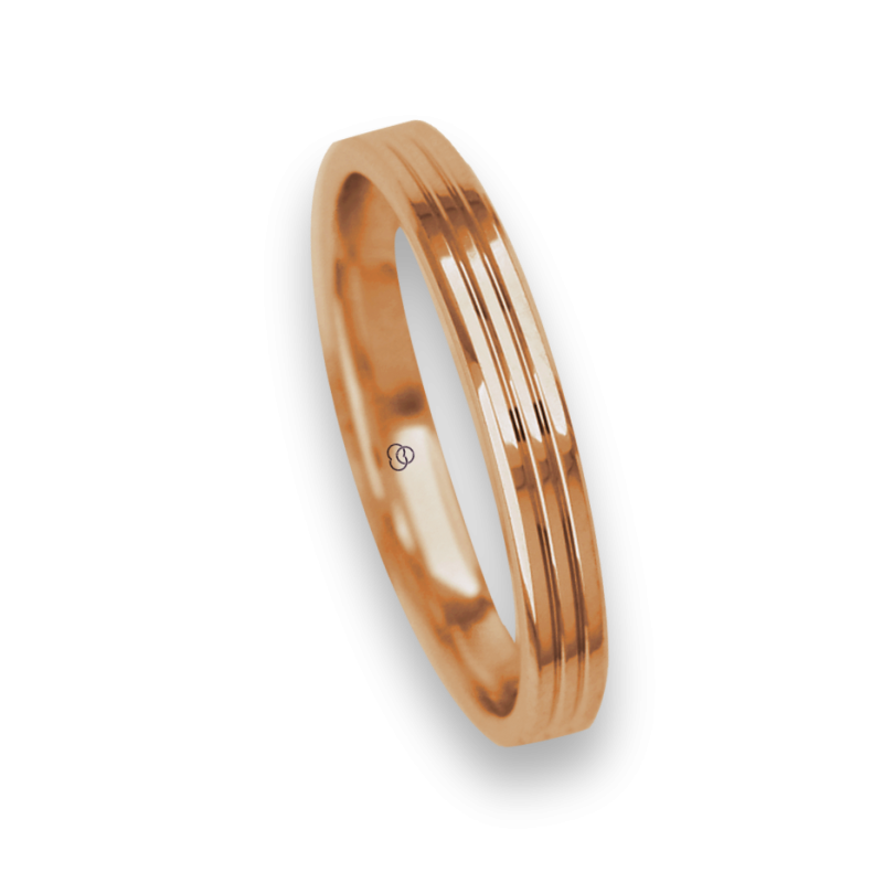 Ring / wedding ring 18 carat rose gold polished finish two canals model aq0339ew