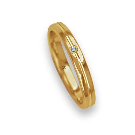 Ring / wedding ring 18 carat yellow gold polished finish center canal one diamond model ag8271bo_dw