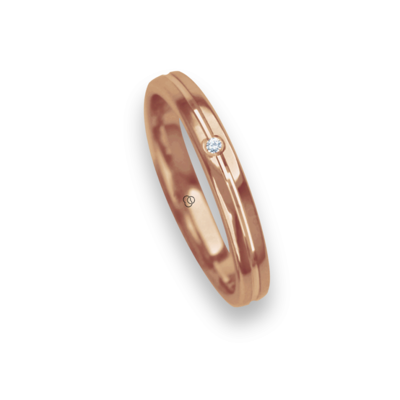 Ring / wedding ring 18 carat rose gold polished finish center canal one diamond model aq8271bo_dw
