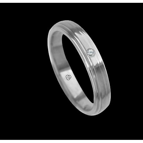 Ring / wedding ring 18 carat white gold polished finish center canal one diamond model ab8271bo_dw