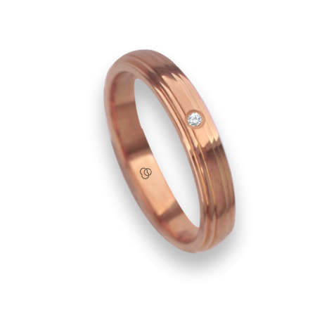 18 carat yellow gold ring / wedding ring polished finish and carved at the sides one diamond model ag3389dw