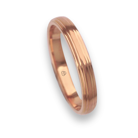 18 carat yellow gold ring / wedding ring polished finish and carved at the sides model ag3389ew