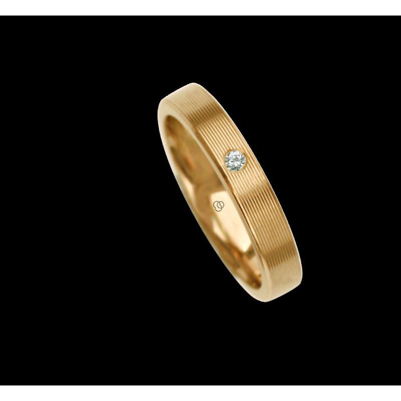 18 carat white gold ring / wedding ring polished finish striped surface one diamond model ab53p_dw
