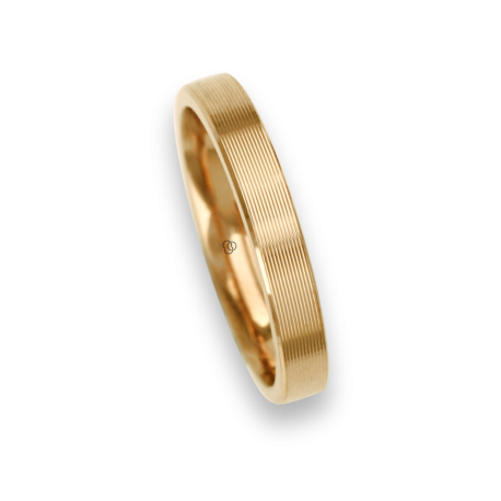 18 carat yellow gold ring / wedding ring polished finish striped surface model eg53p_ew