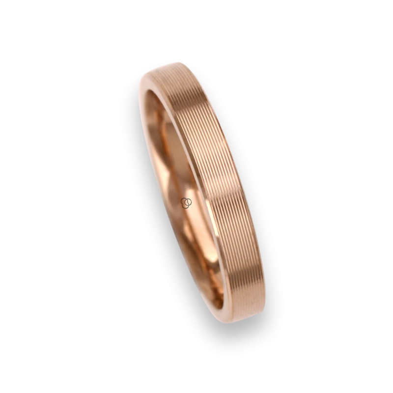 18 carat yellow gold ring / wedding ring polished finish striped surface model eg53p_ew
