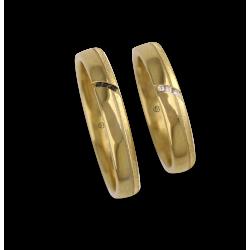 Fedi nuziali oro giallo 18 carati lucido e sabbiato canale trasversale tre diamanti neri modello 530944