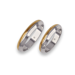 Wedding rings yellow and white gold with four diamonds model aa044714