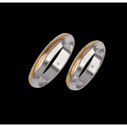 обручальные кольца белого и желтого золота с четырьмя бриллиантами модель aa044714