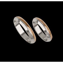 Обручальные кольца из белого и розового золота с четырьмя бриллиантами модель ad044714