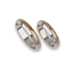 Wedding rings in white and rose gold with four diamonds model ad044714