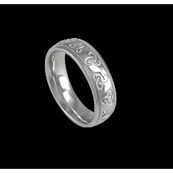 White gold celtic ring rounded surface polished finish model th02b