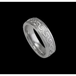 Кельтские кольца из белого золота изогнутой поверхности пескоструйной обработкой модель th12b