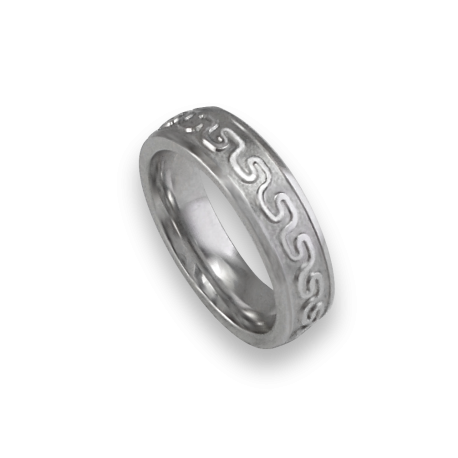 White gold celtic ring rounded surface sandblasted finish model th12b