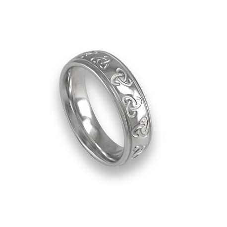White gold celtic ring rounded surface polished finish model th02b