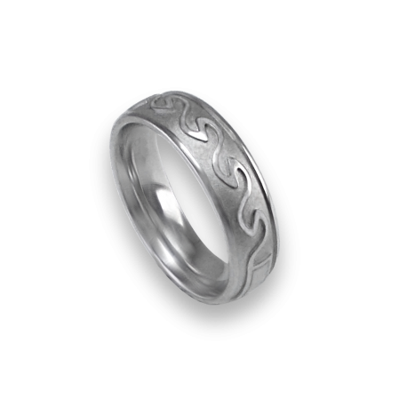 White gold celtic ring rounded surface sandblasted finish model th21b