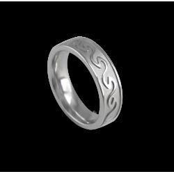 Кельтское кольцо в белом золотом плоской поверхности пескоструйного рисунка th21p