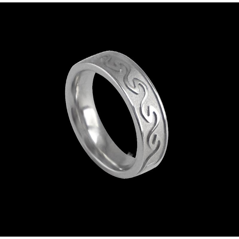 White gold celtic ring flat surface sandblasted finish model th21p