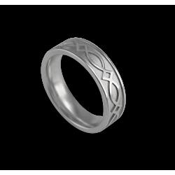 Кельтское кольцо в белом золотом плоской поверхности пескоструйного рисунка th25p