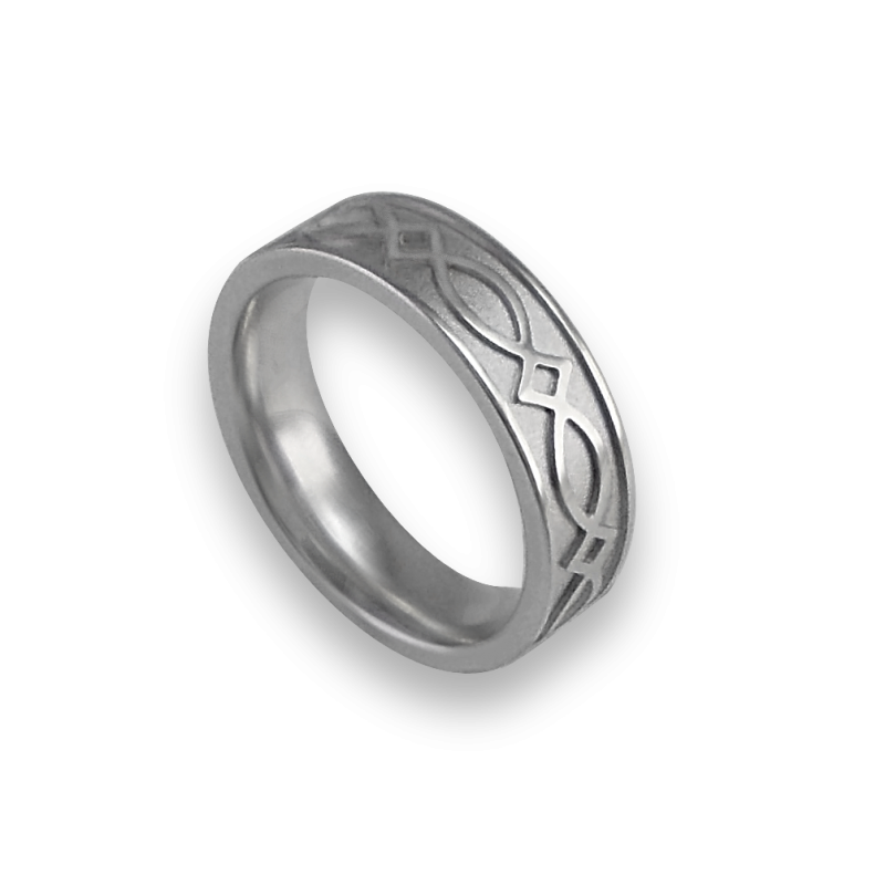White gold celtic ring flat surface sandblasted finish model th25p