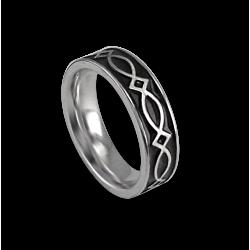 Anello celtico in oro bianco superficie piatta finitura lucida e smaltata nero modello th25p_smalto