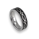 White gold celtic ring flat surface polished and black enamel finish model th25p_smalto