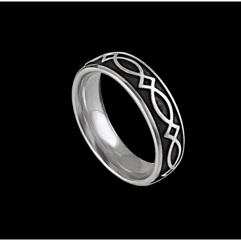 White gold celtic ring rounded surface polished and black enamel finish model th25b_smalto