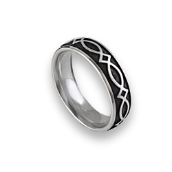 White gold celtic ring rounded surface polished and black enamel finish model th25b_smalto