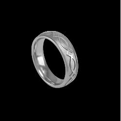 Кельтское кольцо из белого золота с закругленной поверхностью с пескоструйным рисунком th25b