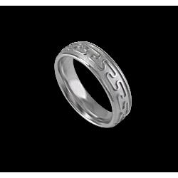 White gold celtic ring rounded surface sandblasted finish model th26b_uomo