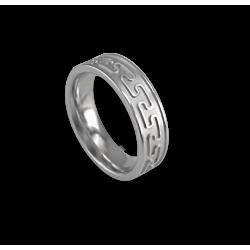 Кельтское кольцо в белом золотом плоской поверхности пескоструйного рисунка th26p
