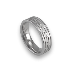 White gold celtic ring flat surface sandblasted finish model th26p