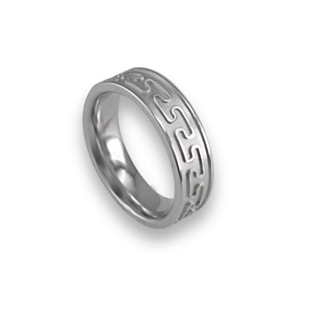 White gold celtic ring flat surface sandblasted finish model th26p