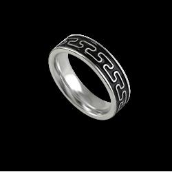 Кельтское кольцо в белом золотом плоской поверхности пескоструйного рисунка th26p_smalto_uomo