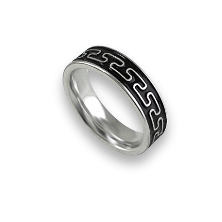 White gold celtic ring flat surface sandblasted finish model th26p_smalto uomo