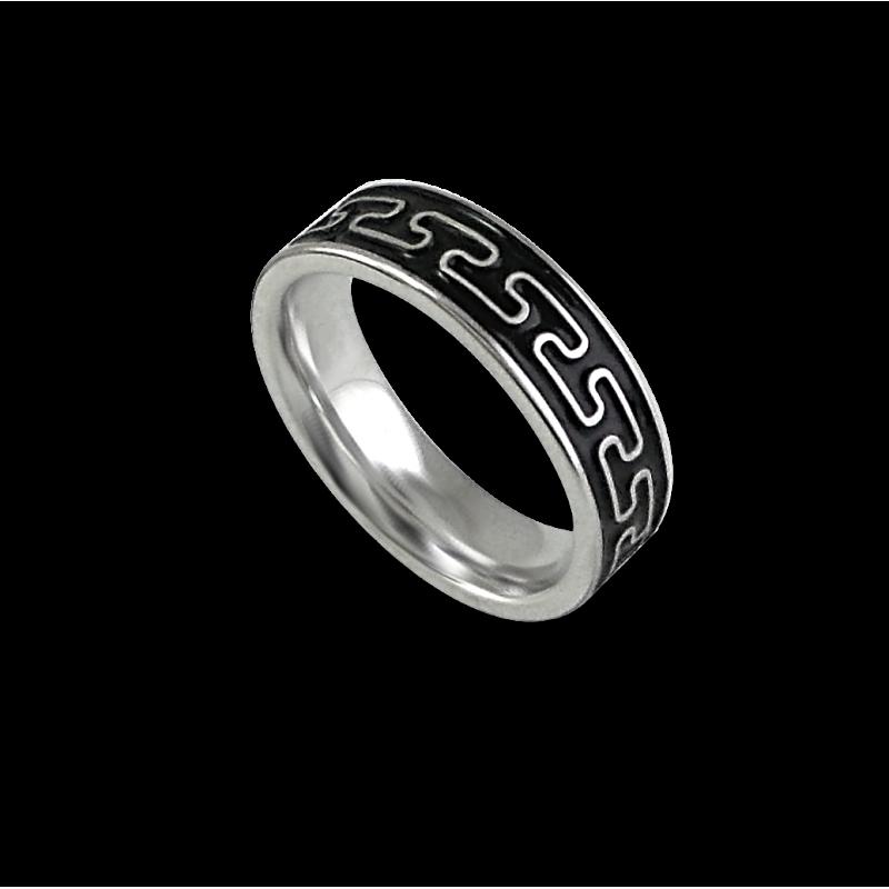 White gold celtic ring flat surface sandblasted finish model th26p_smalto uomo