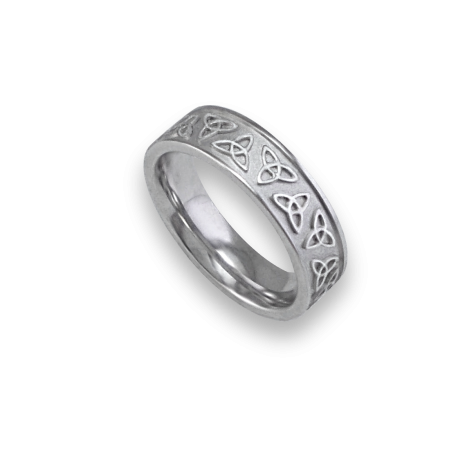 White gold celtic ring flat surface sandblasted finish model th23p