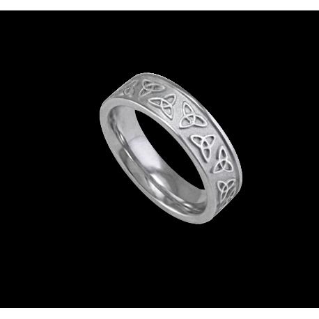 White gold celtic ring flat surface sandblasted finish model th23p