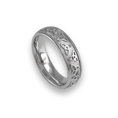 White gold celtic ring rounded surface sandblasted finish model th23b_donna