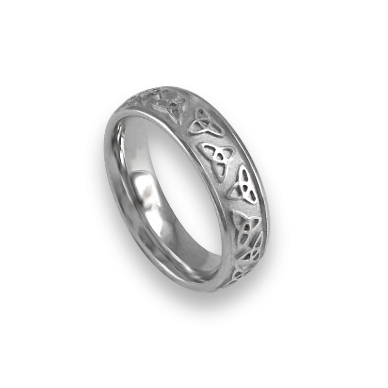 White gold celtic ring rounded surface sandblasted finish model th23b_donna