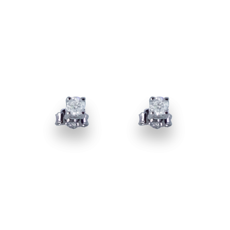 Orecchini punto luce in oro bianco 18 kt con diamanti bianchi - Model Subtle