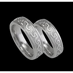White gold celtic wedding bands, sandblasted finish, model th12b