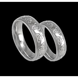 White gold celtic wedding bands, polished finish, model th02b