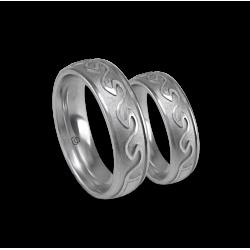 White gold celtic wedding bands, sandblasted finish, model th21b