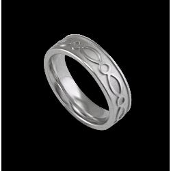 White gold celtic ring flat surface sandblasted finish model th27p