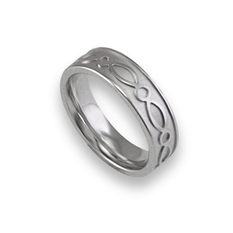 White gold celtic ring flat surface sandblasted finish model th27p