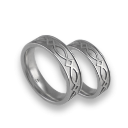 White gold celtic wedding bands, sanblasted finish, model th25p