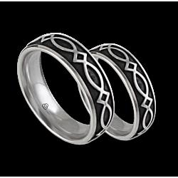 White gold celtic wedding bands, black enamel painting finish, model th25b_smalto