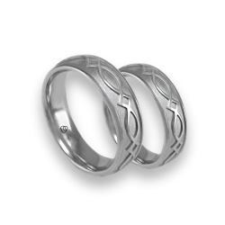 White gold celtic wedding bands, sandlasted finish, model th25b