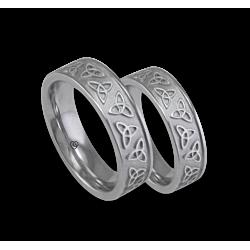 White gold celtic wedding bands, sandblasted finish, model th23p